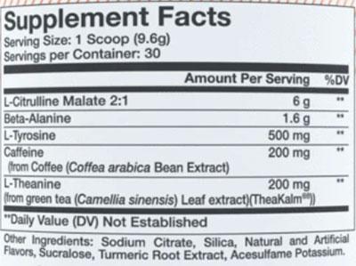 Alani Nu Pre Workout Ingredients